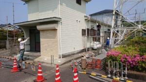 東塩田町自治公民館 足場組立(飛散防止ネット張り)